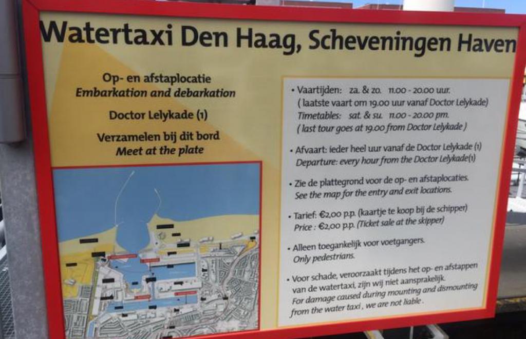 aanlegplaatsen watertaxi Scheveningen Haven